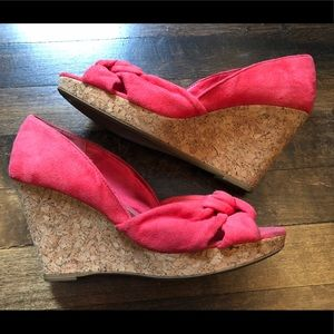 H&M Coral Pink Faux Suede Open Toe Wedge Sandals